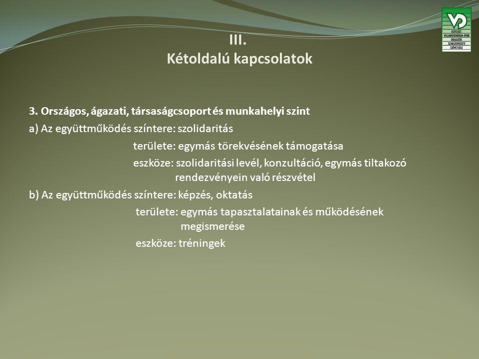 III. Kétoldalú kapcsolatok 3.