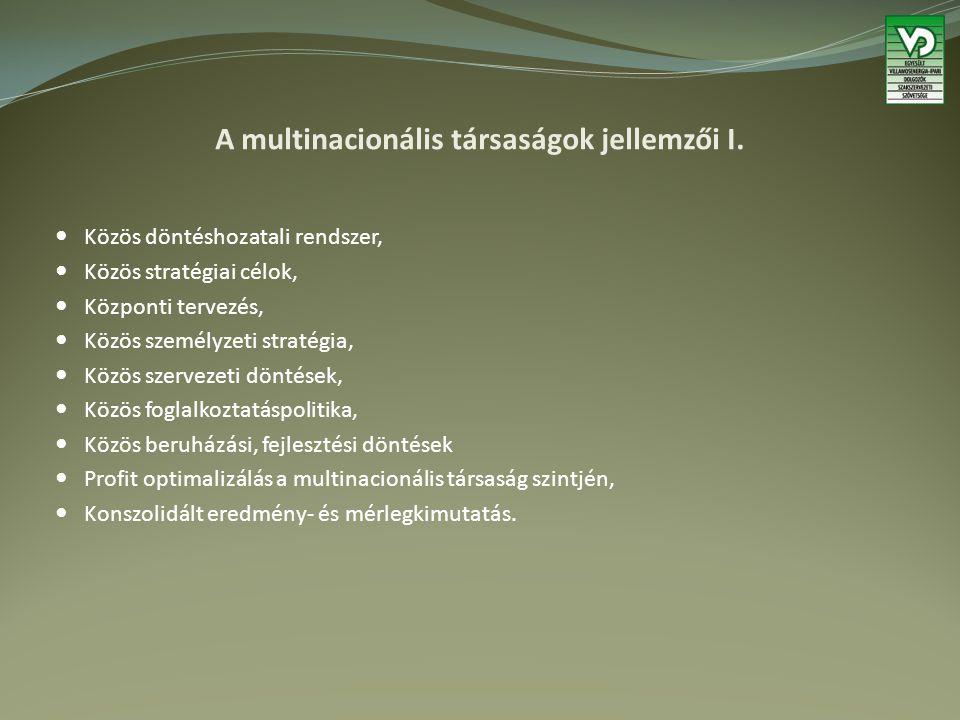 A multinacionális társaságok jellemzői II.