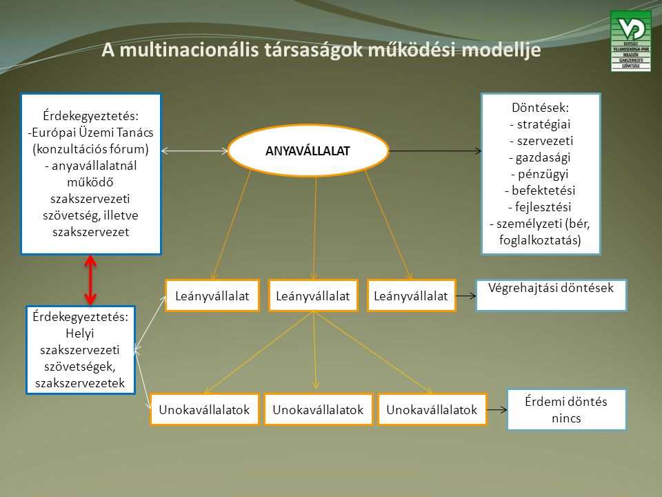 A multinacionális társaságok működési modellje ANYAVÁLLALAT Döntések: - stratégiai - szervezeti - gazdasági - pénzügyi - befektetési - fejlesztési - személyzeti (bér, foglalkoztatás) Érdekegyeztetés: -Európai Üzemi Tanács (konzultációs fórum) - anyavállalatnál működő szakszervezeti szövetség, illetve szakszervezet Leányvállalat Végrehajtási döntések Unokavállalatok Érdemi döntés nincs Érdekegyeztetés: Helyi szakszervezeti szövetségek, szakszervezetek
