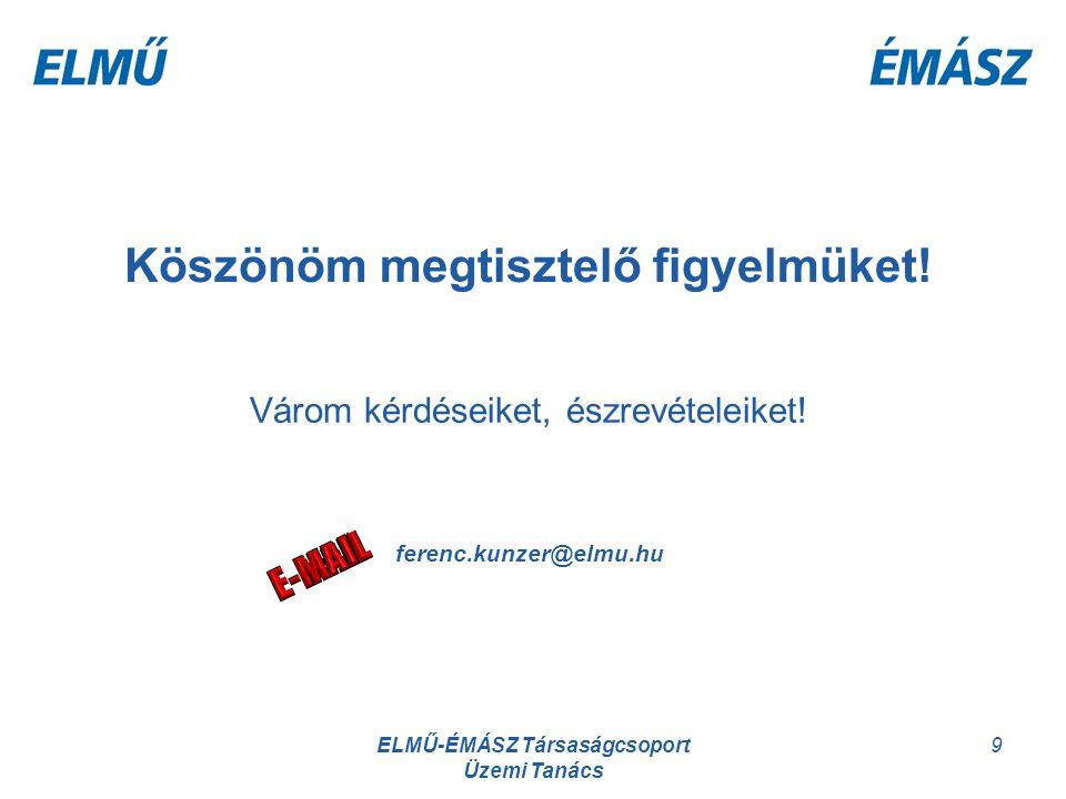ELMŰ-ÉMÁSZ Társaságcsoport Üzemi Tanács 9 Köszönöm megtisztelő figyelmüket! Várom kérdéseiket, észrevételeiket! ferenc.kunzer@elmu.hu