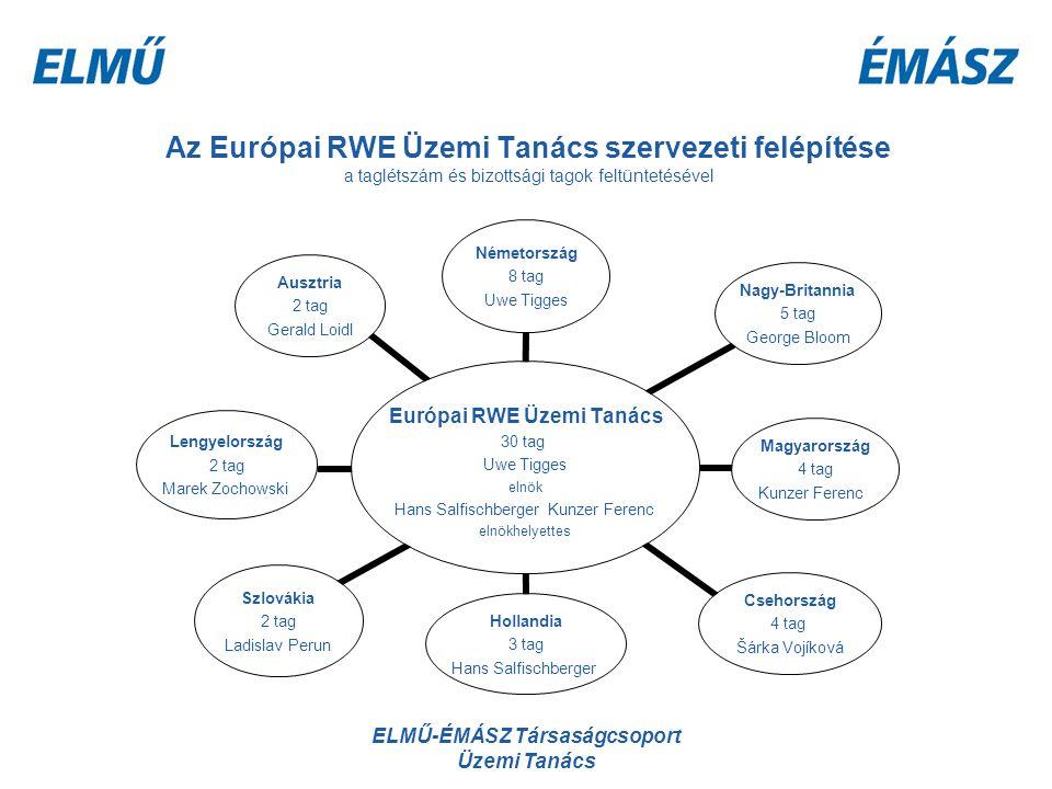 ELMŰ-ÉMÁSZ Társaságcsoport Üzemi Tanács Az Európai RWE Üzemi Tanács szervezeti felépítése a taglétszám és bizottsági tagok feltüntetésével Európai RWE
