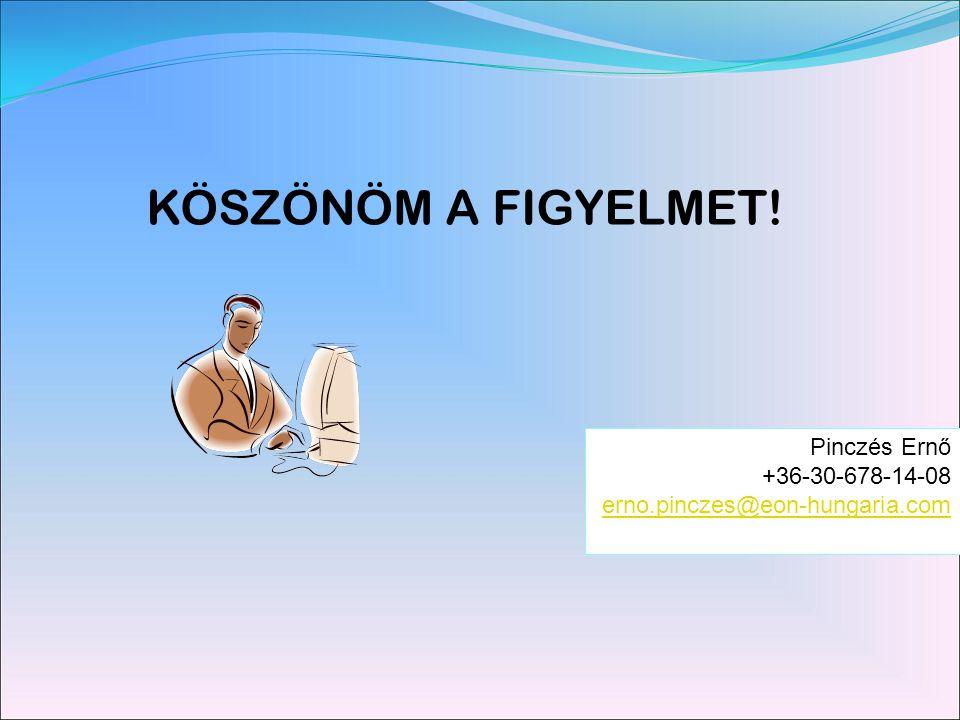 KÖSZÖNÖM A FIGYELMET! Pinczés Ernő +36-30-678-14-08 erno.pinczes@eon-hungaria.com
