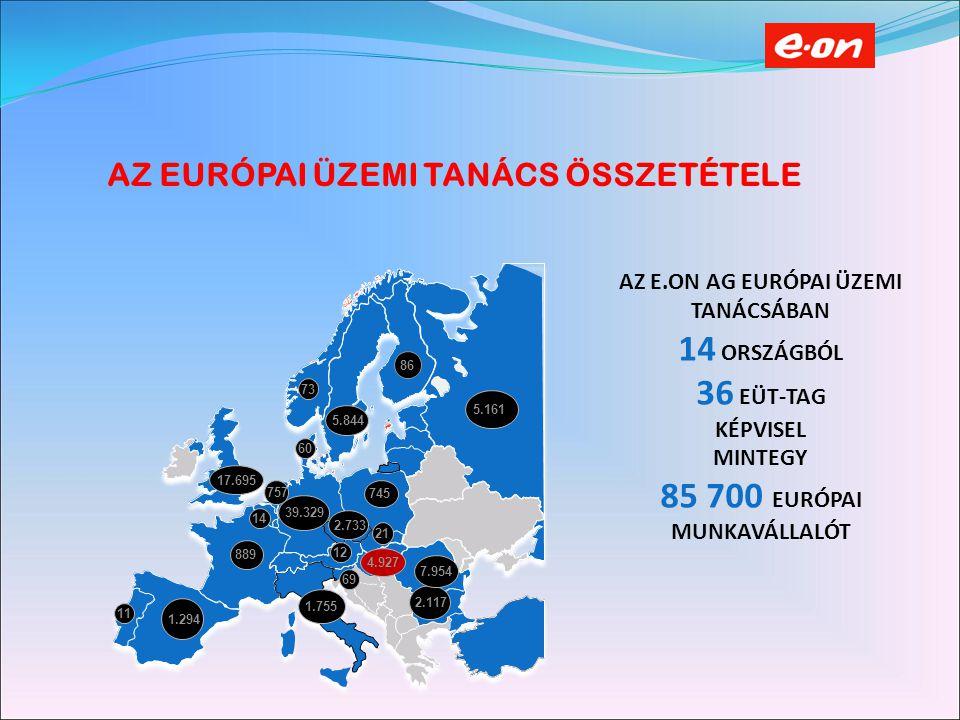 AZ EURÓPAI ÜZEMI TANÁCS ÖSSZETÉTELE AZ E.ON AG EURÓPAI ÜZEMI TANÁCSÁBAN 14 ORSZÁGBÓL 36 EÜT-TAG KÉPVISEL MINTEGY 85 700 EURÓPAI MUNKAVÁLLALÓT