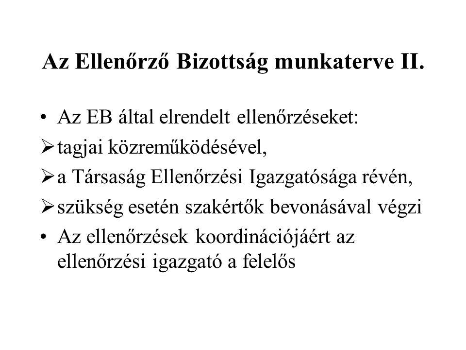 Az Ellenőrző Bizottság munkaterve III.
