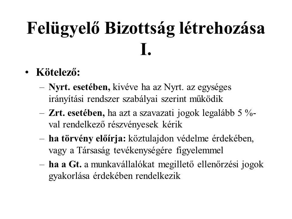 Felügyelő Bizottság létrehozása II.