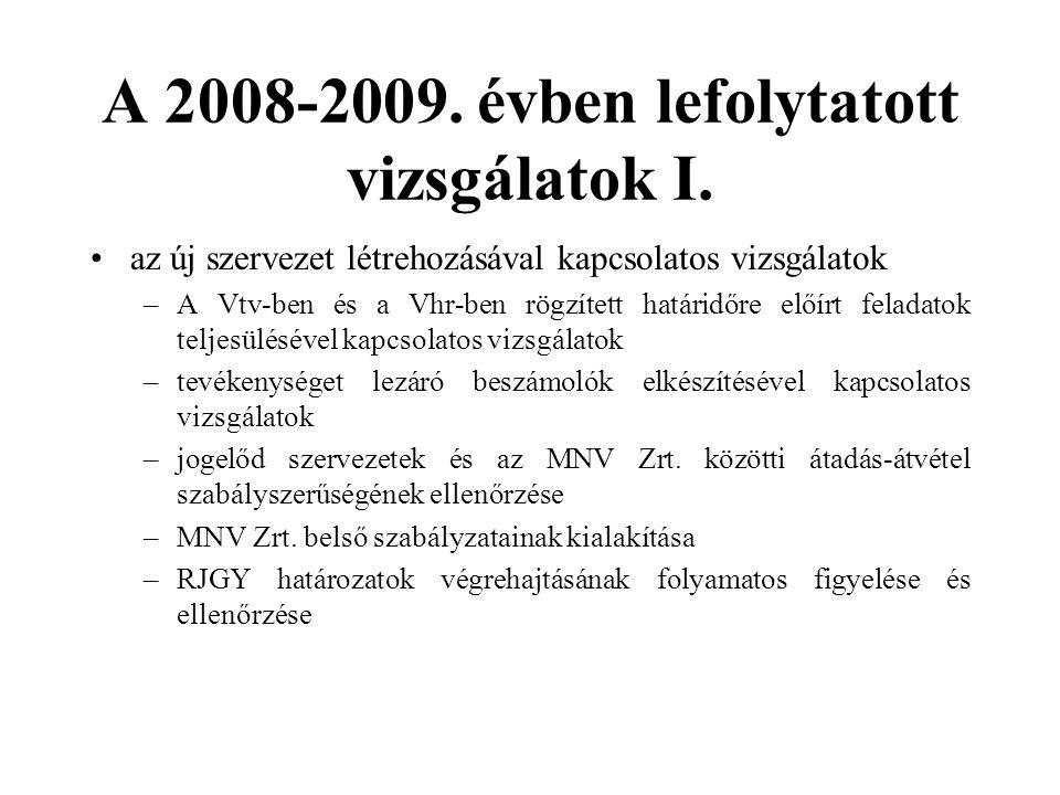 A 2008-2009.évben lefolytatott vizsgálatok II.