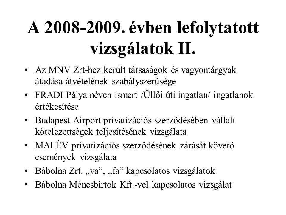 A 2008-2009.évben lefolytatott vizsgálatok III.