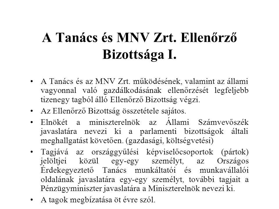 A Tanács és MNV Zrt.Ellenőrző Bizottsága II.