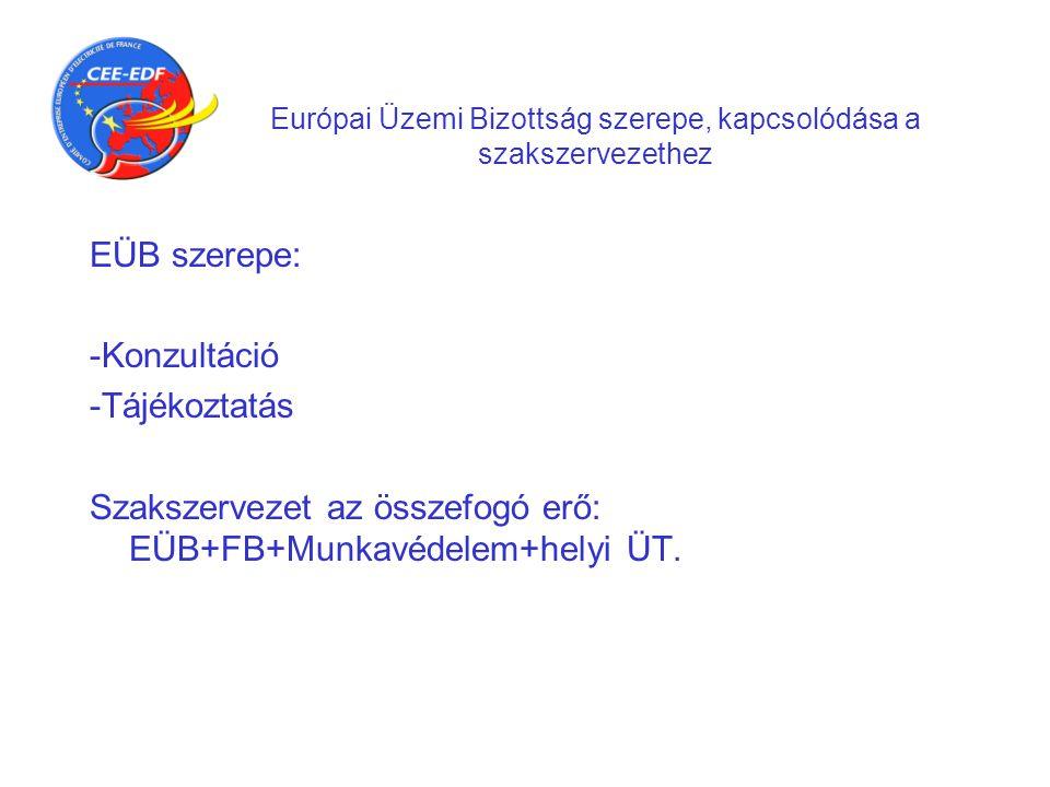 Európai Üzemi Bizottság szerepe, kapcsolódása a szakszervezethez EÜB szerepe: -Konzultáció -Tájékoztatás Szakszervezet az összefogó erő: EÜB+FB+Munkav