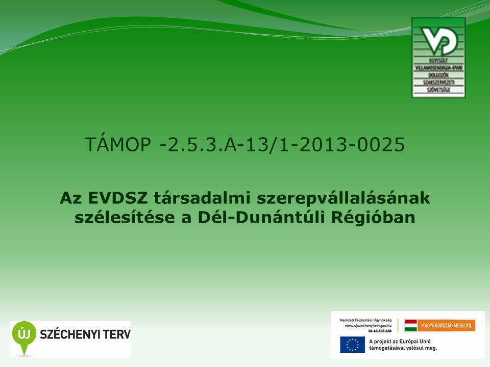 1 TÁMOP -2.5.3.A-13/1-2013-0025 Az EVDSZ társadalmi szerepvállalásának szélesítése a Dél-Dunántúli Régióban