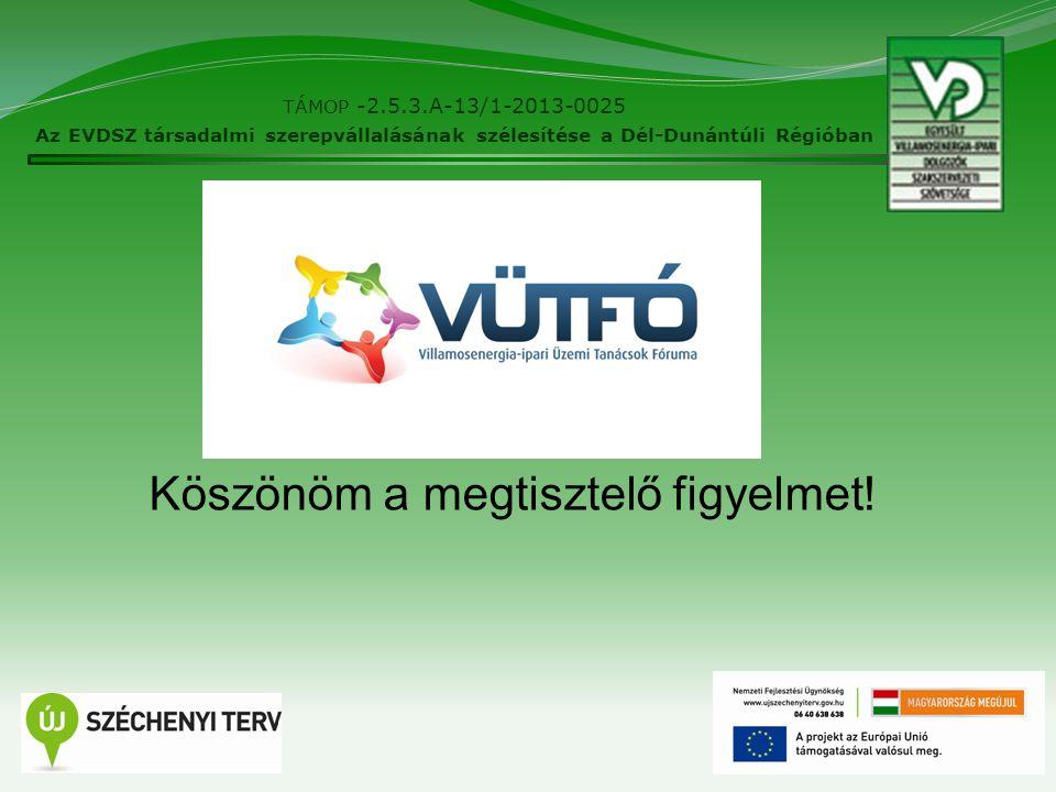 10 TÁMOP -2.5.3.A-13/1-2013-0025 Az EVDSZ társadalmi szerepvállalásának szélesítése a Dél-Dunántúli Régióban Köszönöm a megtisztelő figyelmet!