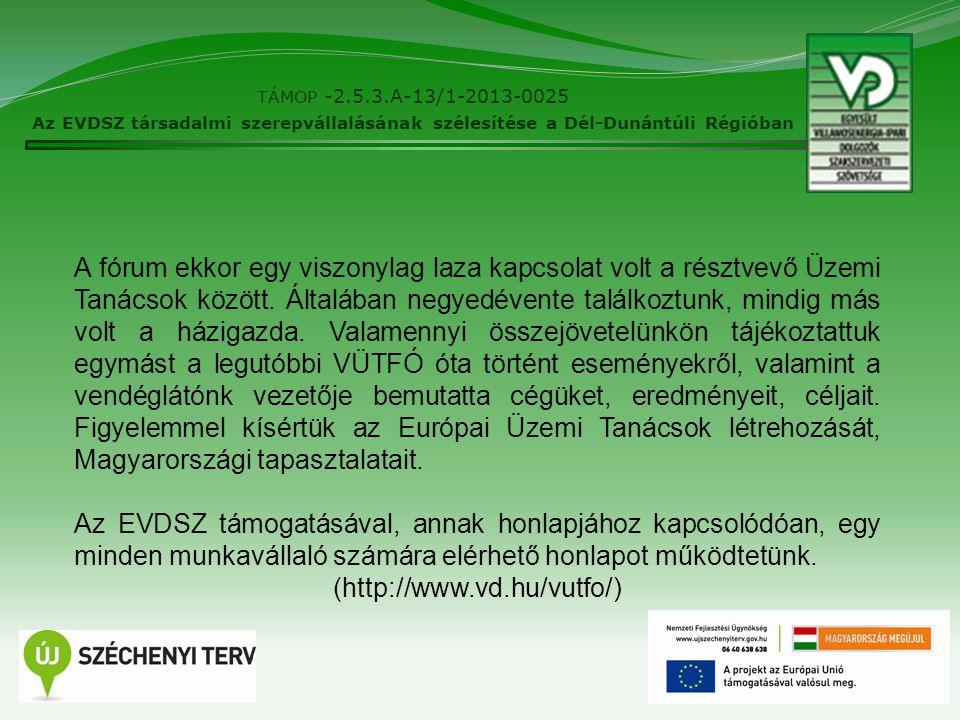 4 TÁMOP -2.5.3.A-13/1-2013-0025 Az EVDSZ társadalmi szerepvállalásának szélesítése a Dél-Dunántúli Régióban A fórum ekkor egy viszonylag laza kapcsolat volt a résztvevő Üzemi Tanácsok között.