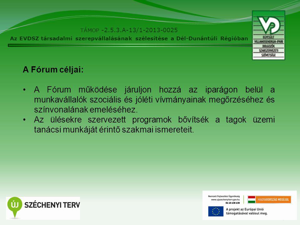 7 TÁMOP -2.5.3.A-13/1-2013-0025 Az EVDSZ társadalmi szerepvállalásának szélesítése a Dél-Dunántúli Régióban A Fórum céljai: A Fórum működése járuljon hozzá az iparágon belül a munkavállalók szociális és jóléti vívmányainak megőrzéséhez és színvonalának emeléséhez.