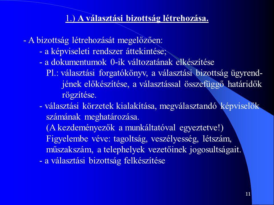 11 1.) A választási bizottság létrehozása. - A bizottság létrehozását megelőzően: - a képviseleti rendszer áttekintése; - a dokumentumok 0-ik változat