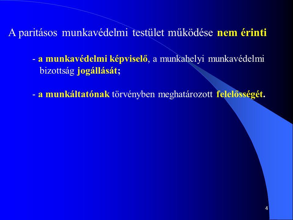 4 A paritásos munkavédelmi testület működése nem érinti - a munkavédelmi képviselő, a munkahelyi munkavédelmi bizottság jogállását; - a munkáltatónak