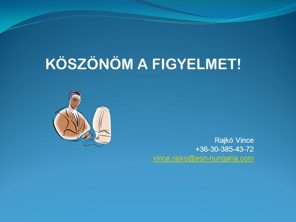 KÖSZÖNÖM A FIGYELMET! Rajkó Vince +36-30-385-43-72 vince.rajko@eon-hungaria.com