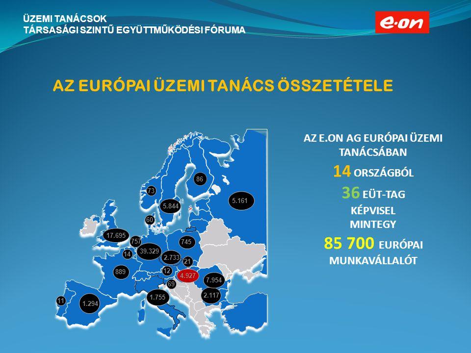 ÜZEMI TANÁCSOK TÁRSASÁGI SZINTŰ EGYÜTTMŰKÖDÉSI FÓRUMA AZ EURÓPAI ÜZEMI TANÁCS ÖSSZETÉTELE AZ E.ON AG EURÓPAI ÜZEMI TANÁCSÁBAN 14 ORSZÁGBÓL 36 EÜT-TAG KÉPVISEL MINTEGY 85 700 EURÓPAI MUNKAVÁLLALÓT