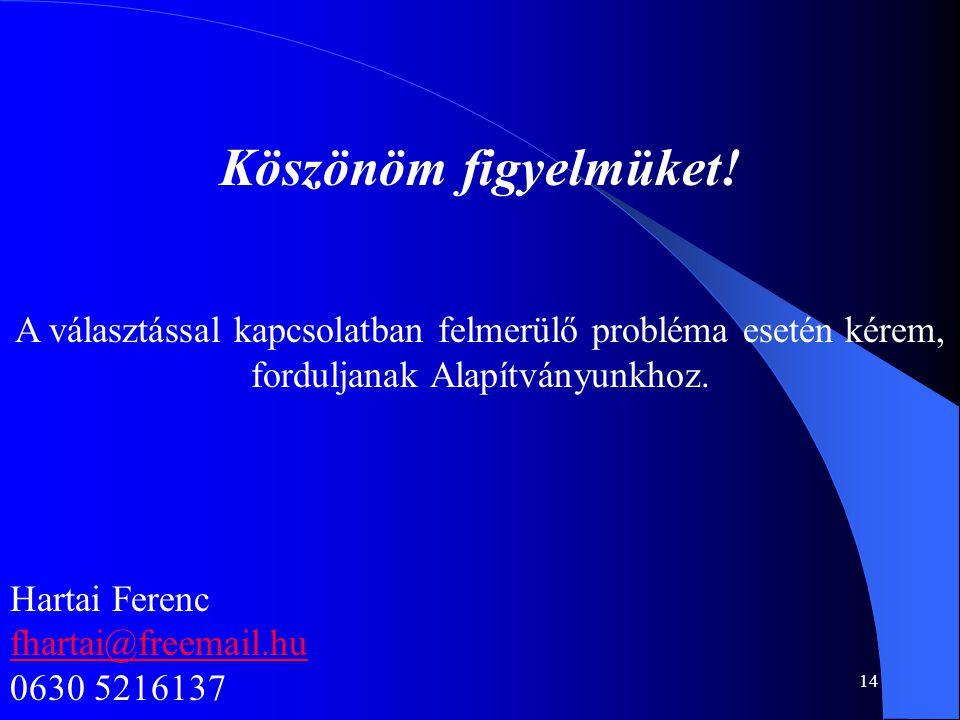 14 Köszönöm figyelmüket! A választással kapcsolatban felmerülő probléma esetén kérem, forduljanak Alapítványunkhoz. Hartai Ferenc fhartai@freemail.hu