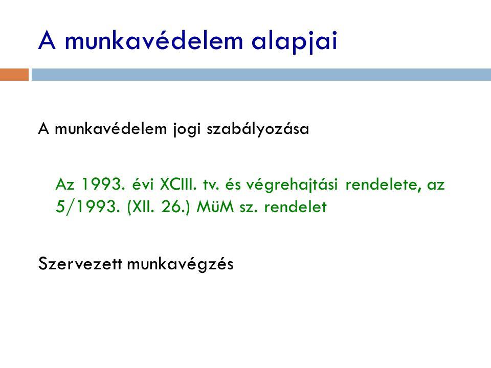 A munkavédelem alapjai A munkavédelem jogi szabályozása Az 1993. évi XCIII. tv. és végrehajtási rendelete, az 5/1993. (XII. 26.) MüM sz. rendelet Szer
