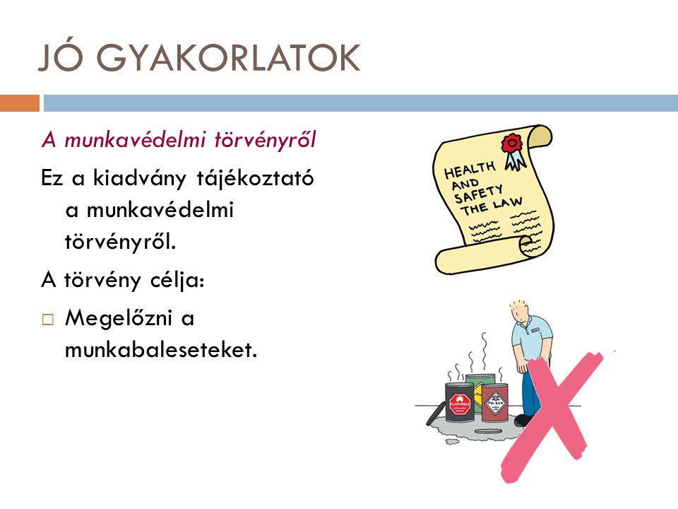 JÓ GYAKORLATOK A munkavédelmi törvényről Ez a kiadvány tájékoztató a munkavédelmi törvényről. A törvény célja:  Megelőzni a munkabaleseteket.