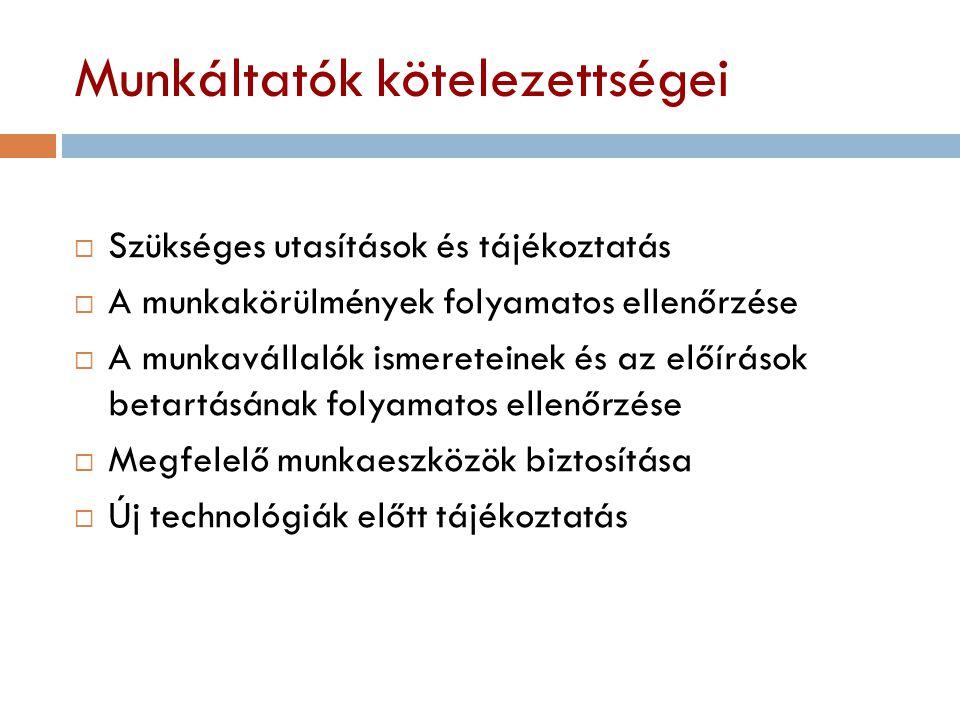 Munkáltatók kötelezettségei  Szükséges utasítások és tájékoztatás  A munkakörülmények folyamatos ellenőrzése  A munkavállalók ismereteinek és az el