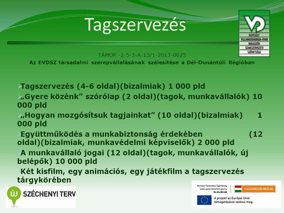 """Tagszervezés TÁMOP -2-5-3-A-13/1-2013-0025 Az EVDSZ társadalmi szerepvállalásának szélesítése a Dél-Dunántúli Régióban  Tagszervezés (4-6 oldal)(bizalmiak) 1 000 pld  """"Gyere közénk szórólap (2 oldal)(tagok, munkavállalók) 10 000 pld  """"Hogyan mozgósítsuk tagjainkat (10 oldal)(bizalmiak) 1 000 pld  Együttműködés a munkabiztonság érdekében (12 oldal)(bizalmiak, munkavédelmi képviselők) 2 000 pld  A munkavállaló jogai (12 oldal)(tagok, munkavállalók, új belépők) 10 000 pld  Két kisfilm, egy animációs, egy játékfilm a tagszervezés tárgykörében 13"""