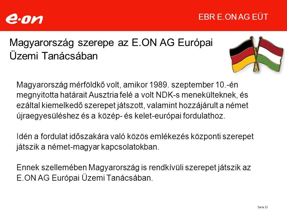 Seite 20 Magyarország szerepe az E.ON AG Európai Üzemi Tanácsában Magyarország mérföldkő volt, amikor 1989.