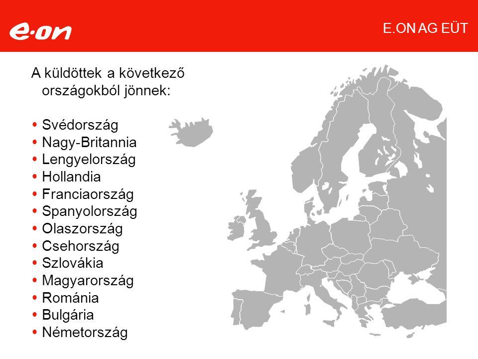 Seite 4 A küldöttek a következő országokból jönnek:  Svédország  Nagy-Britannia  Lengyelország  Hollandia  Franciaország  Spanyolország  Olaszország  Csehország  Szlovákia  Magyarország  Románia  Bulgária  Németország E.ON AG EÜT