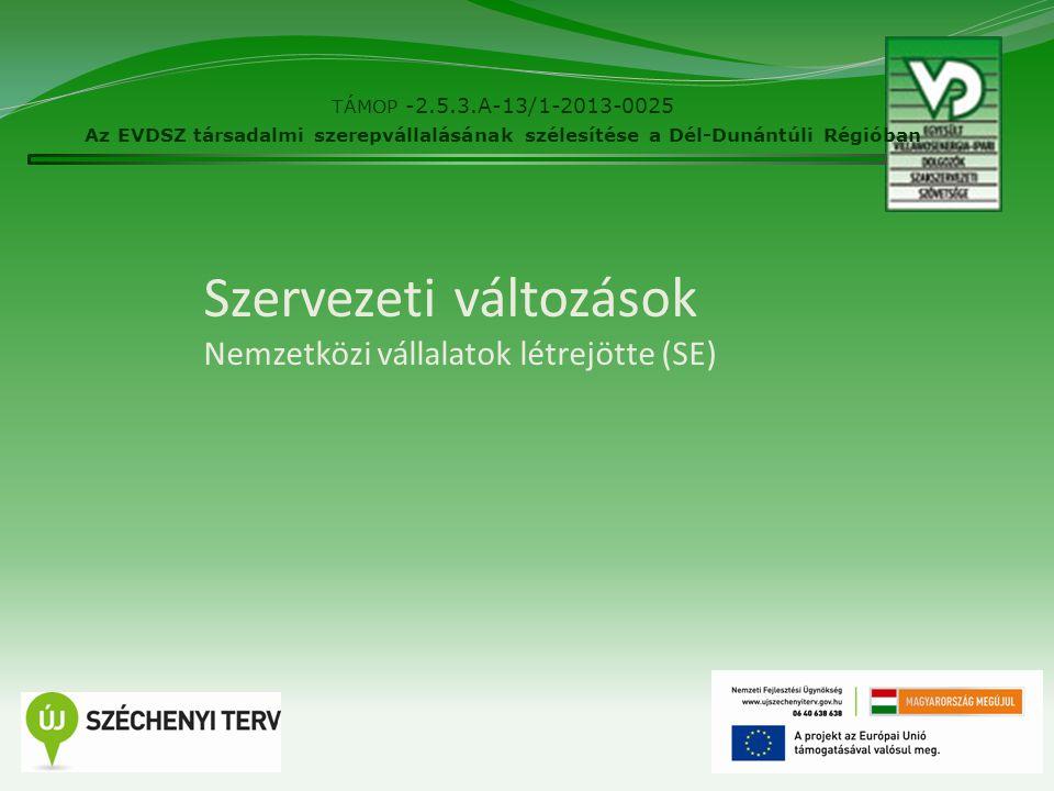 Szervezeti változások Nemzetközi vállalatok létrejötte (SE) TÁMOP -2.5.3.A-13/1-2013-0025 Az EVDSZ társadalmi szerepvállalásának szélesítése a Dél-Dun