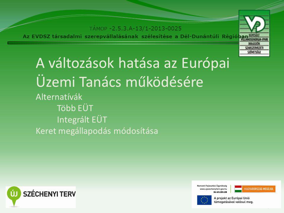 A változások hatása az Európai Üzemi Tanács működésére Alternatívák Több EÜT Integrált EÜT Keret megállapodás módosítása TÁMOP -2.5.3.A-13/1-2013-0025