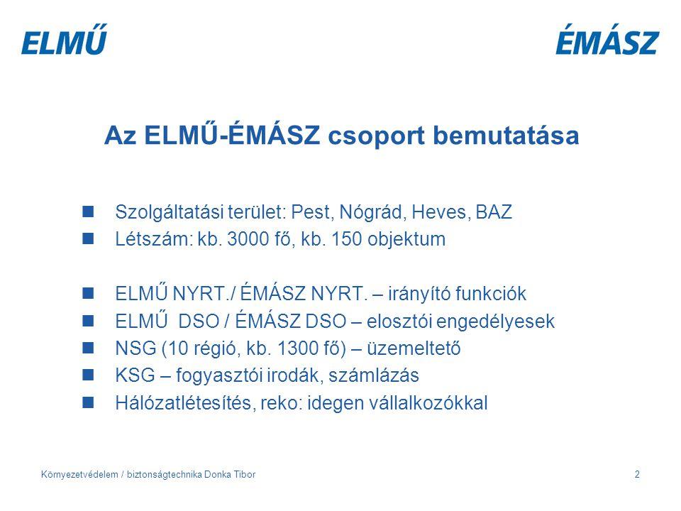 Környezetvédelem / biztonságtechnika Donka Tibor2 Az ELMŰ-ÉMÁSZ csoport bemutatása Szolgáltatási terület: Pest, Nógrád, Heves, BAZ Létszám: kb. 3000 f