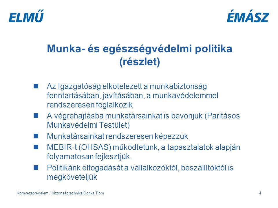 Környezetvédelem / biztonságtechnika Donka Tibor4 Munka- és egészségvédelmi politika (részlet) Az Igazgatóság elkötelezett a munkabiztonság fenntartás