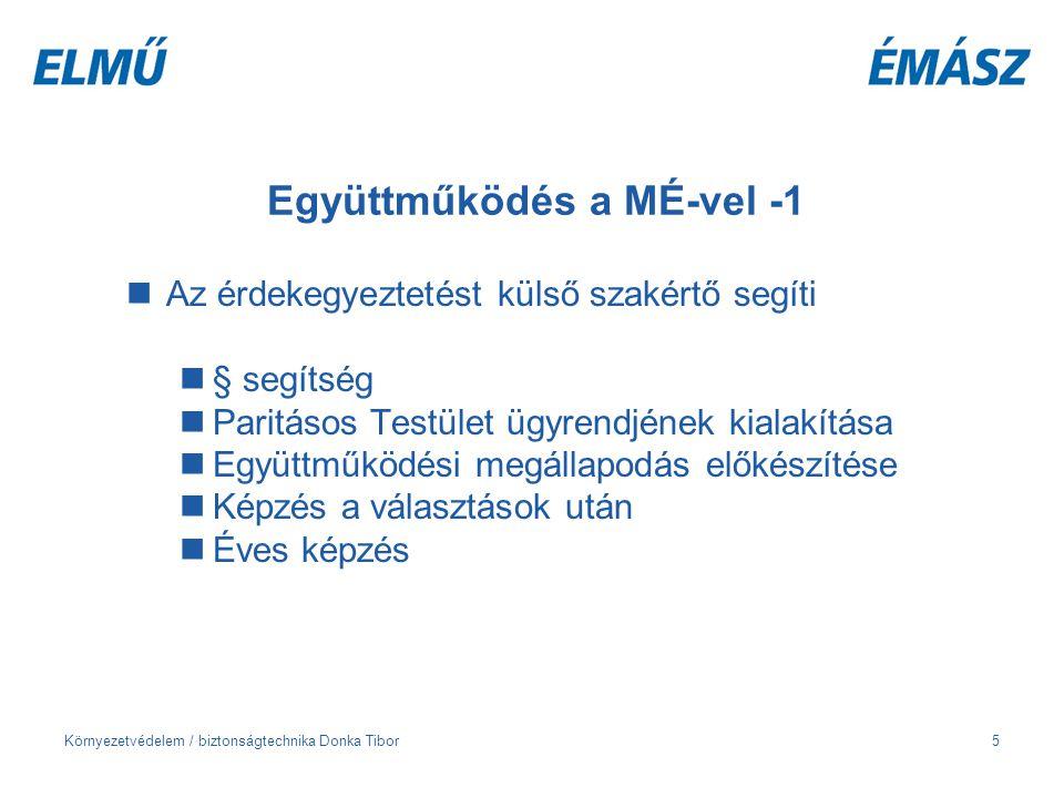 Környezetvédelem / biztonságtechnika Donka Tibor5 Együttműködés a MÉ-vel -1 Az érdekegyeztetést külső szakértő segíti § segítség Paritásos Testület üg
