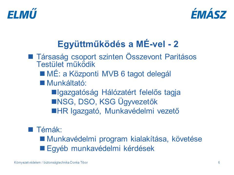 Környezetvédelem / biztonságtechnika Donka Tibor7 Együttműködés a MÉ-vel - 3 A napi munkában Munkavédelmi program kialakítása Munkabalesetek kivizsgálása Kockázatértékelések Szabályzatok véleményezése: pl.