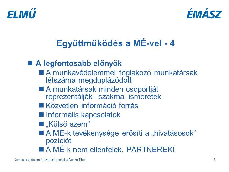 Környezetvédelem / biztonságtechnika Donka Tibor8 Együttműködés a MÉ-vel - 4 A legfontosabb előnyök A munkavédelemmel foglakozó munkatársak létszáma m