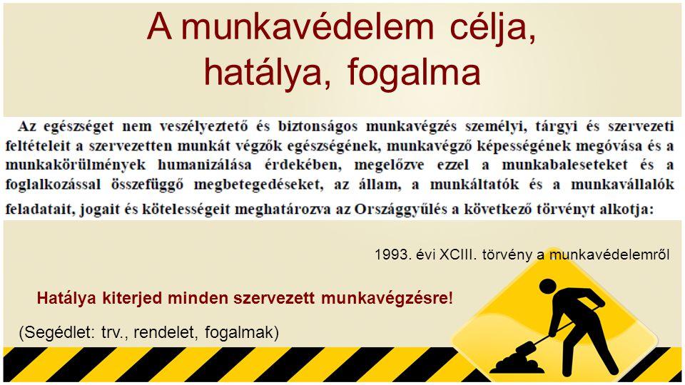 A munkavédelem célja, hatálya, fogalma 1993. évi XCIII. törvény a munkavédelemről Hatálya kiterjed minden szervezett munkavégzésre! (Segédlet: trv., r