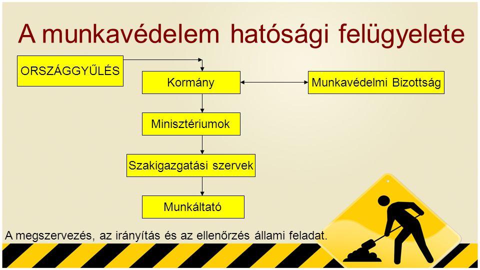 A munkavédelem hatósági felügyelete A megszervezés, az irányítás és az ellenőrzés állami feladat. ORSZÁGGYŰLÉS Kormány Minisztériumok Szakigazgatási s