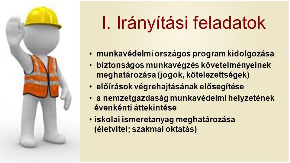 I. Irányítási feladatok munkavédelmi országos program kidolgozása biztonságos munkavégzés követelményeinek meghatározása (jogok, kötelezettségek) előí