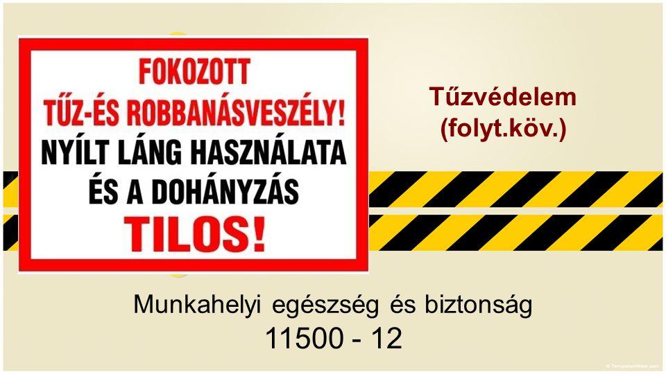Munkahelyi egészség és biztonság 11500 - 12 Tűzvédelem (folyt.köv.)
