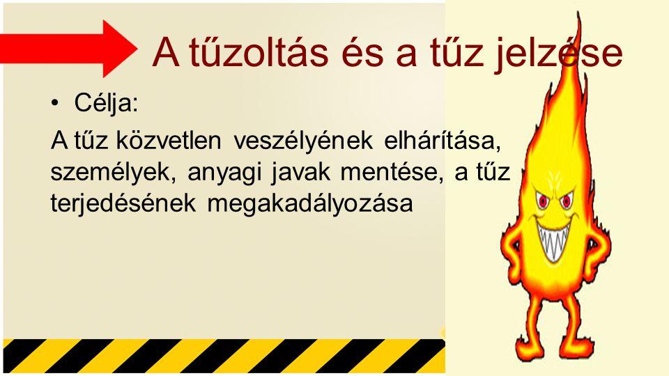 A tűzoltás és a tűz jelzése Célja: A tűz közvetlen veszélyének elhárítása, személyek, anyagi javak mentése, a tűz terjedésének megakadályozása