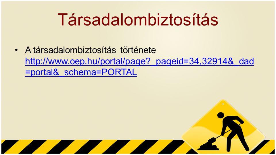 Társadalombiztosítás A társadalombiztosítás története http://www.oep.hu/portal/page?_pageid=34,32914&_dad =portal&_schema=PORTAL http://www.oep.hu/por