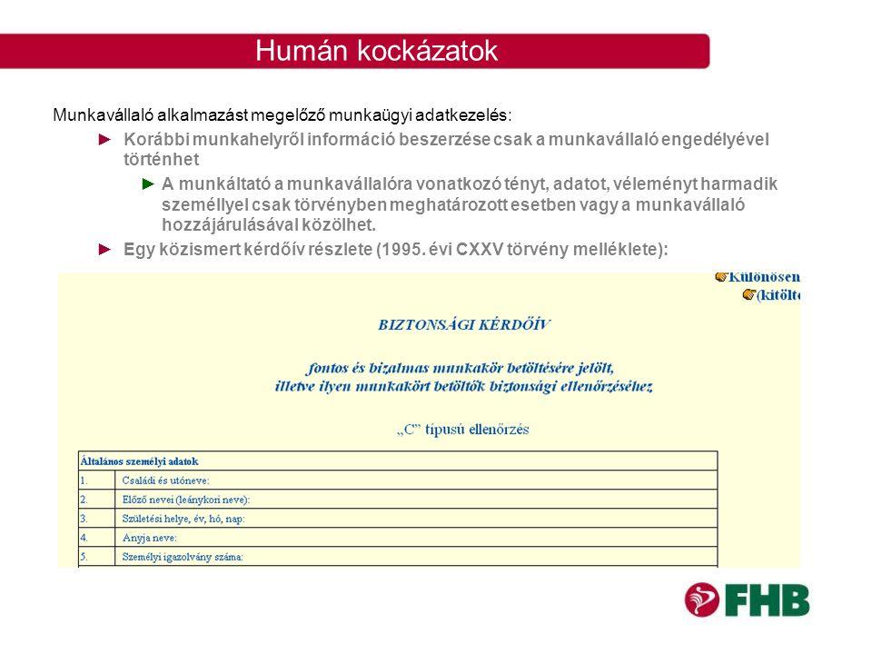 Humán kockázatok Munkavállaló alkalmazást megelőző munkaügyi adatkezelés: ►Korábbi munkahelyről információ beszerzése csak a munkavállaló engedélyével
