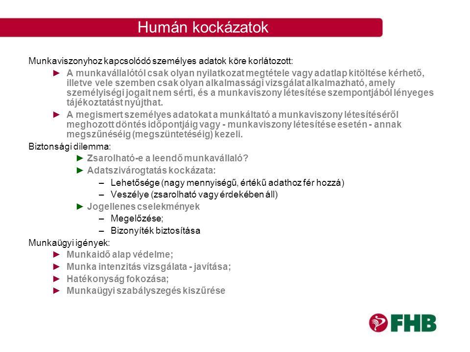 Humán kockázatok Munkaviszonyhoz kapcsolódó személyes adatok köre korlátozott: ►A munkavállalótól csak olyan nyilatkozat megtétele vagy adatlap kitölt