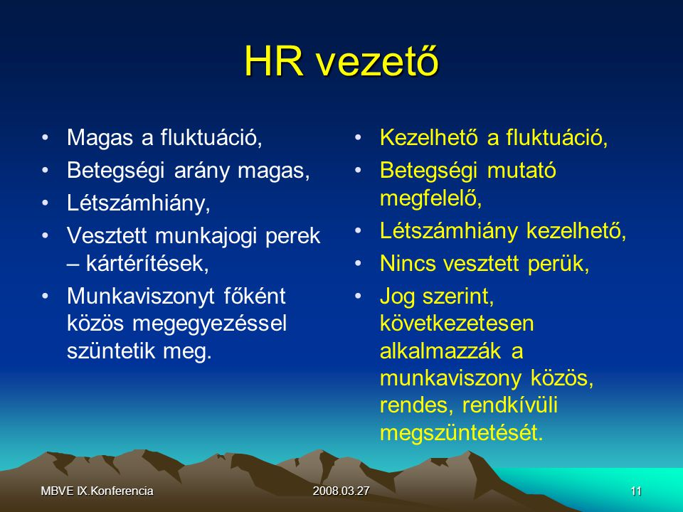MBVE IX.Konferencia2008.03.2711 HR vezető Magas a fluktuáció, Betegségi arány magas, Létszámhiány, Vesztett munkajogi perek – kártérítések, Munkaviszonyt főként közös megegyezéssel szüntetik meg.