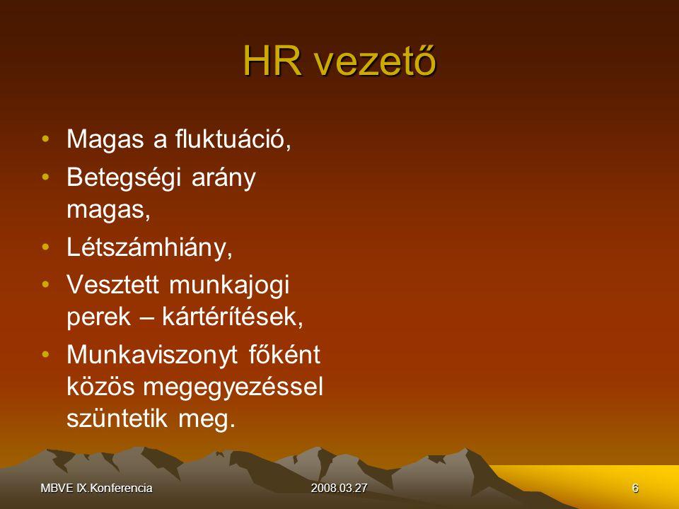 MBVE IX.Konferencia2008.03.276 HR vezető Magas a fluktuáció, Betegségi arány magas, Létszámhiány, Vesztett munkajogi perek – kártérítések, Munkaviszonyt főként közös megegyezéssel szüntetik meg.