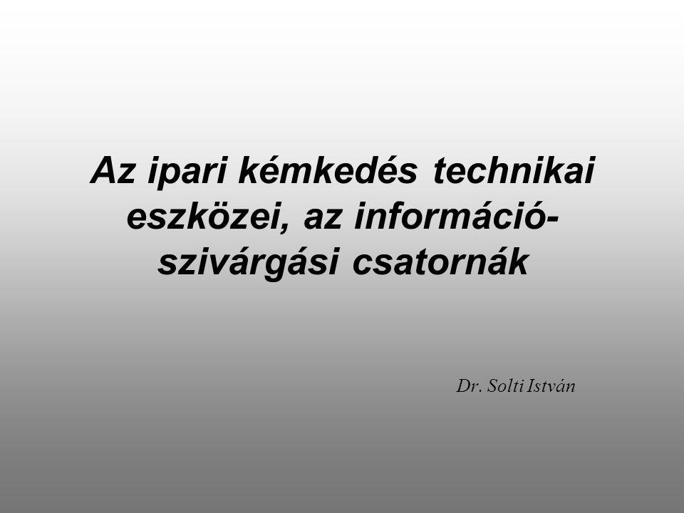 Az ipari kémkedés technikai eszközei, az információ- szivárgási csatornák Dr. Solti István