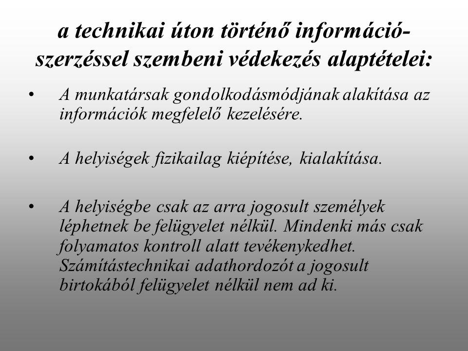 a technikai úton történő információ- szerzéssel szembeni védekezés alaptételei: A munkatársak gondolkodásmódjának alakítása az információk megfelelő kezelésére.