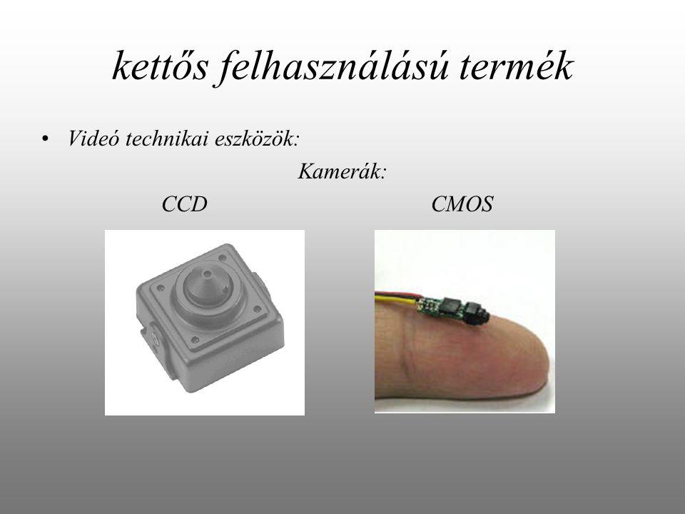 kettős felhasználású termék Videó technikai eszközök: Kamerák: CCD CMOS