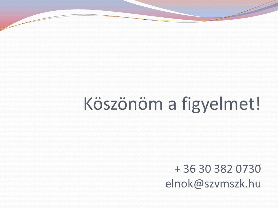 Köszönöm a figyelmet! + 36 30 382 0730 elnok@szvmszk.hu