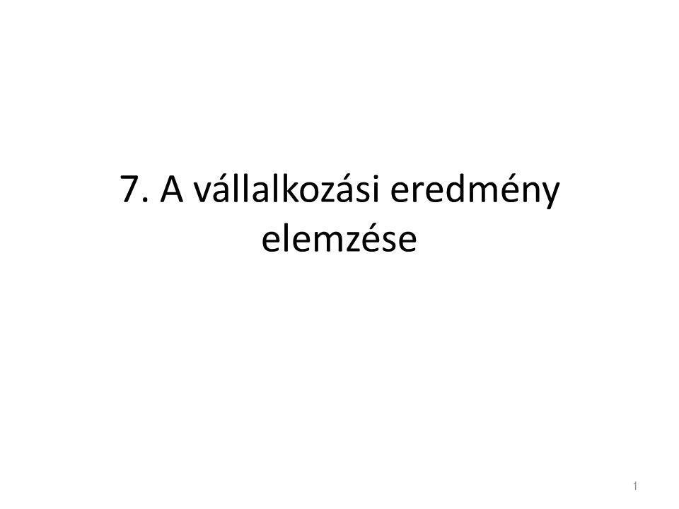 7. A vállalkozási eredmény elemzése 1